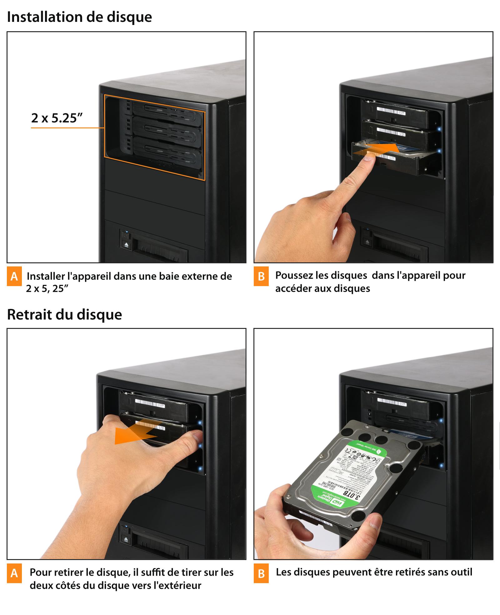 Démonstration de l'installation et du retrait d'un disque dans le MB839SP-B