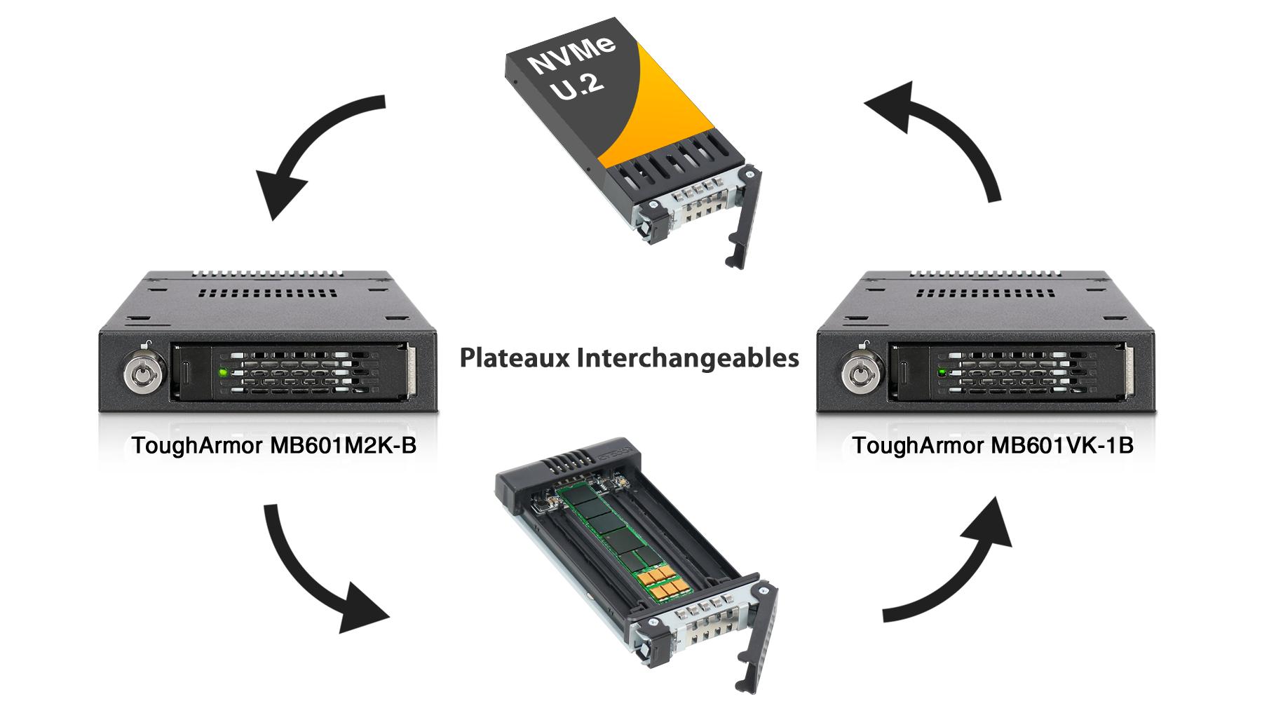Démonstration des plateaux interchangeables du MB601M2K-1B avec ceux que MB601VK-1B
