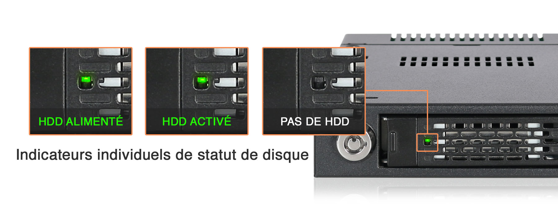Démonstration des différents statuts LED en fonction de l'activité de disque dans le MB601VK-1B