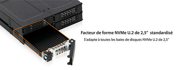 Zoom sur le MB705M2P-B qui s'adapte à tout disque 2.5 pouces U.2 NVMe standard