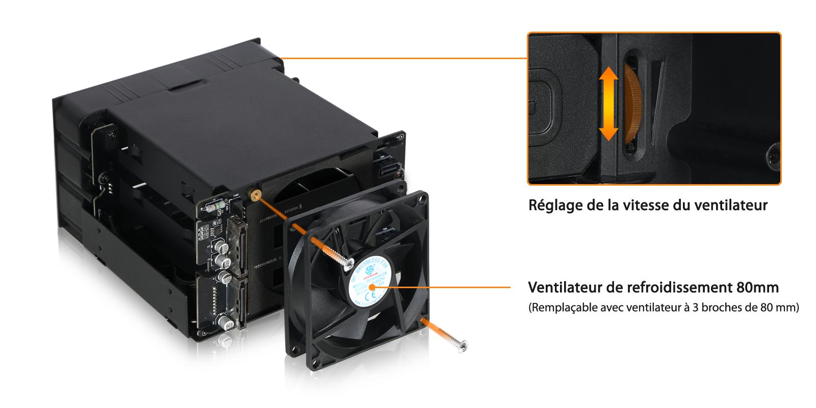 Zoom sur le ventilateur de refroidissement 80mm du MB830SP-B