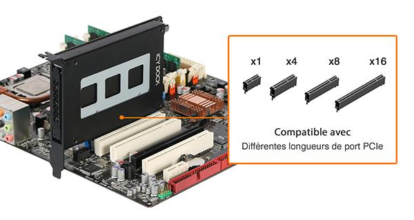 Photo des différentes longueur de port PCIe compatible