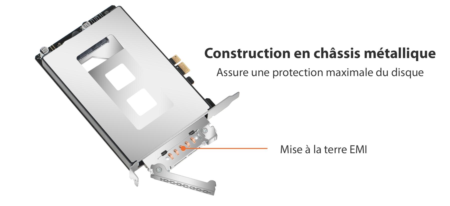 Photo de la construction en chassis metalique pour une protection maximale du disque