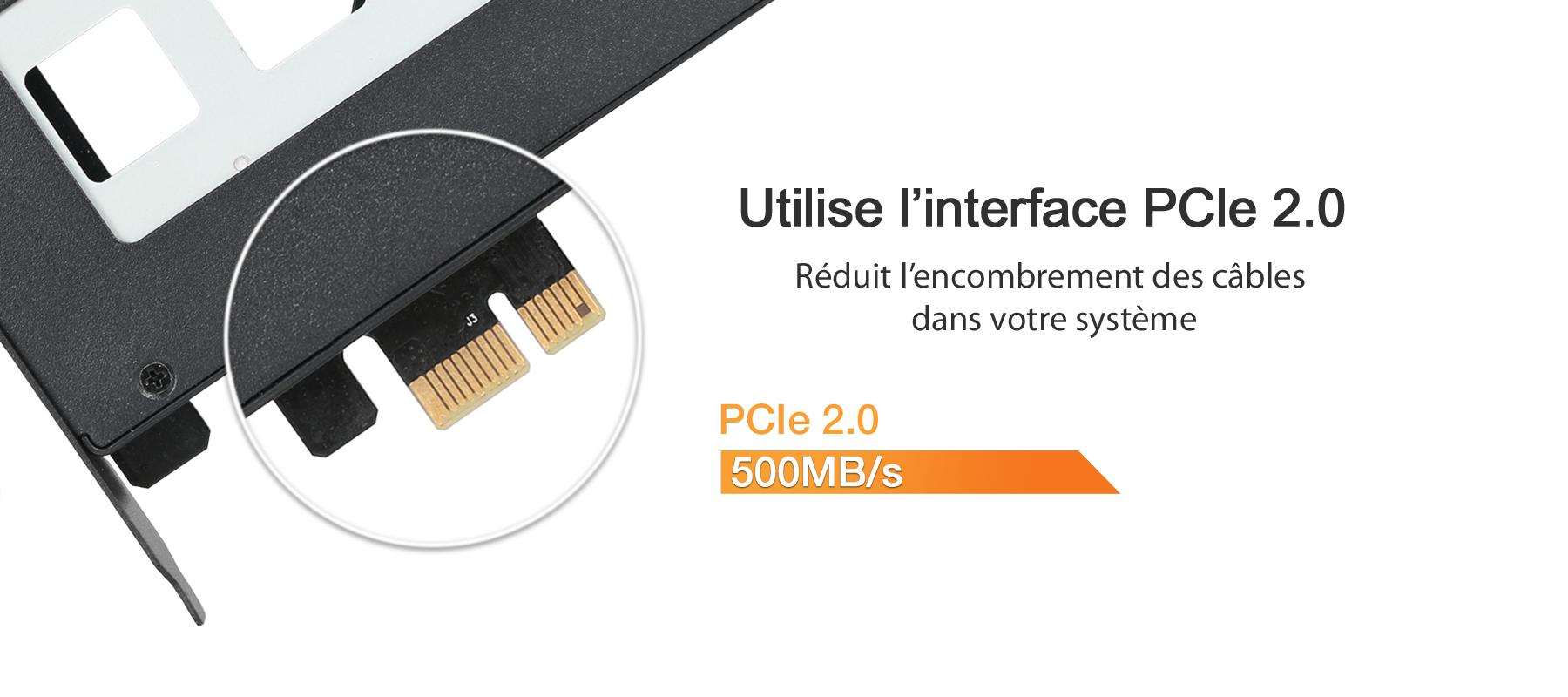 Photo de l'interface PCIe 2.0 utilisée par le MB839SP-B