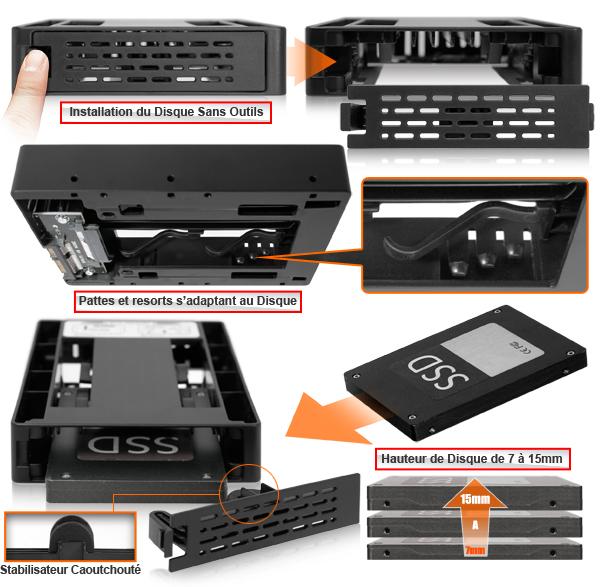 étapes pour installer un disque dans le mb882sp-1s-3b sans outil