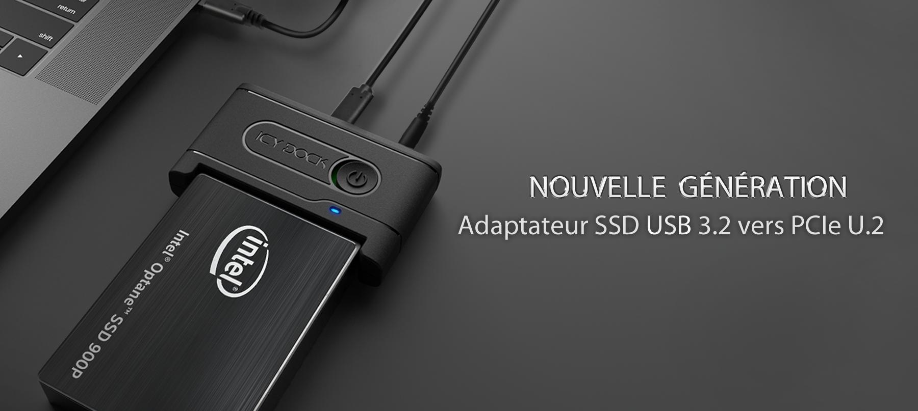 Adaptateur SSD USB 3.2 vers PCIe U.2