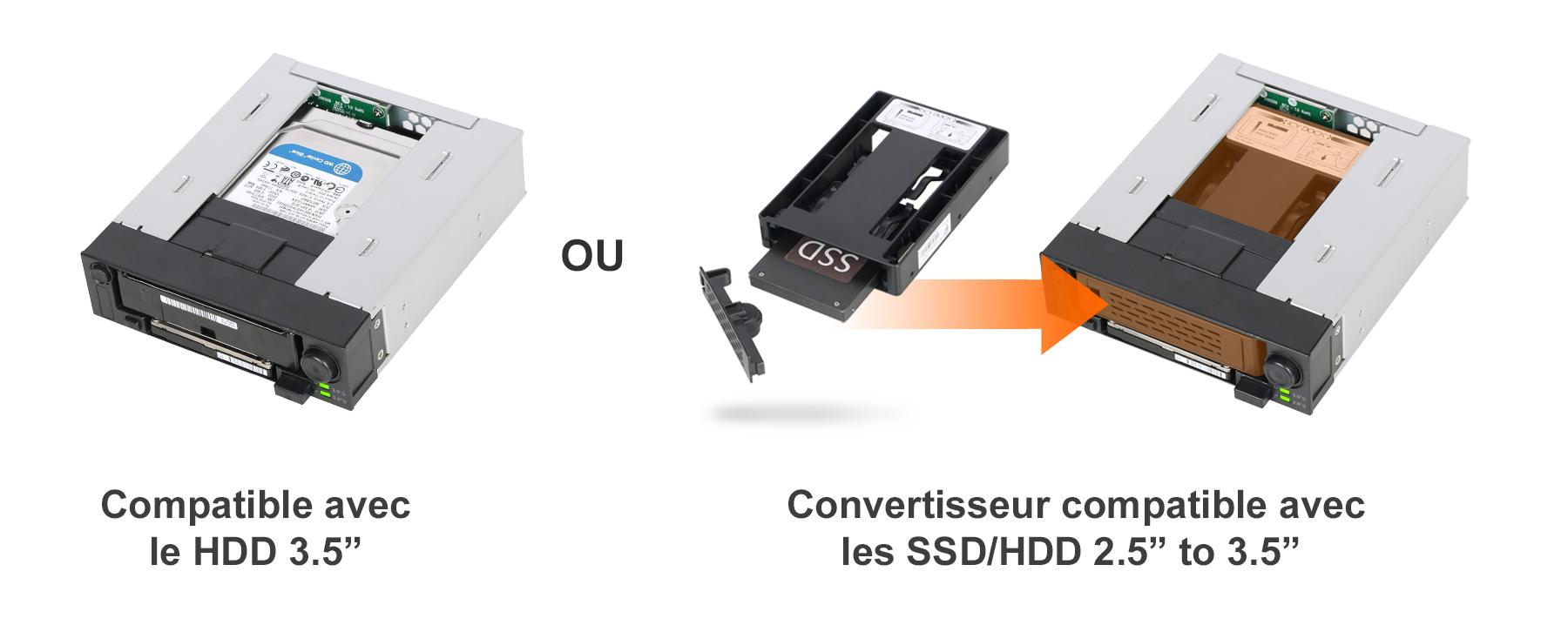 photo des SSD et HDD 2.5 à 3.5 pouces compatibles avec le mb971sp-b
