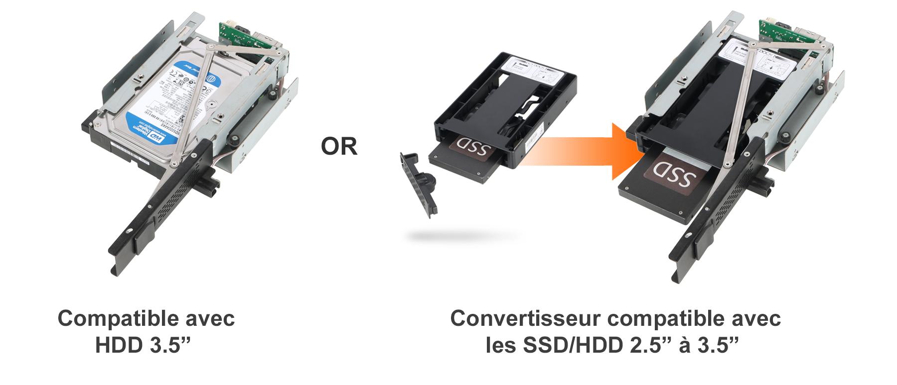 photo des convertisseurs compatibles avec HDD et SSD 3.5 pouces à 2.5 pouces